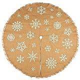 Juvale Rustic Burlap Christmas Tree Skirt, Round Fabric Tree Skirt, Holiday Decor (60 in)