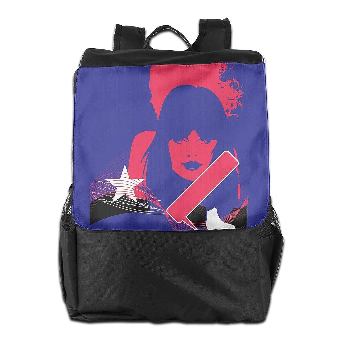 バイアス盲目占めるバックパックリュック 大容量 メンズ バックパック インラインスケートと星と美人 カジュアルバッグ オシャレ旅行バッグ 通勤 通学 男女兼用バッグ 黒