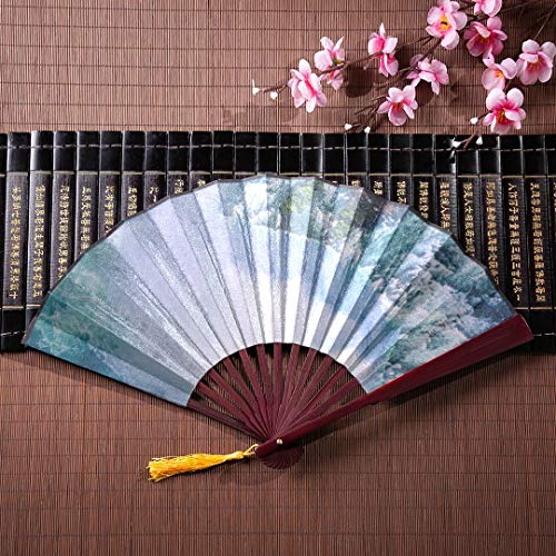 Ventagli di carta cinesi Cascate del Niagara dal punto di vista della cameriera della nebbia con cornice di bambù ciondolo nappa e borsa di stoffa Ventaglio a mano Ventilatore a mano da viaggio per d