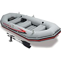 Intex Mariner 4 Inflatable Boat Set w/Aluminum Oars & High Output Air Pump