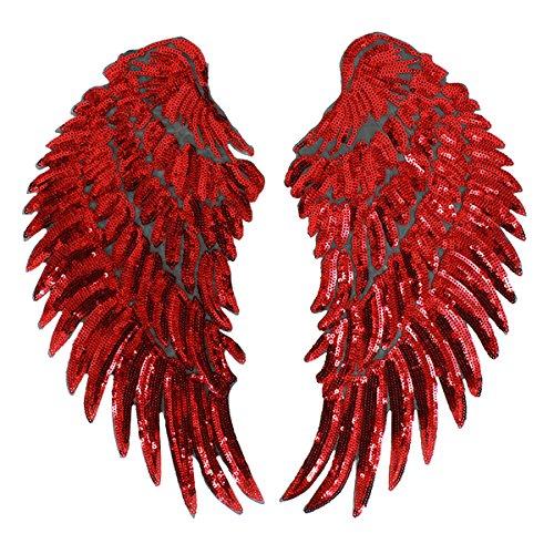 Milya - Toppa termoadesiva da applicare con il ferro da stiro su toppa, motivo ali di angelo, per magliette, jeans, vestiti, borse, colore rosso