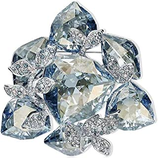 Aooaz Jewelry Brooch for Women Crystal Flying Butterfly Brooches Silver