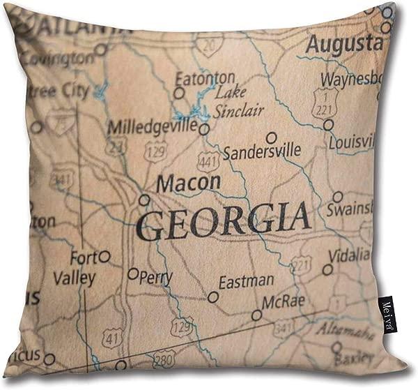 Sukuraceci 装饰方形枕套老历史城市郡州地图格鲁吉亚扔枕套枕套靠垫套定制枕套 18x 18英寸