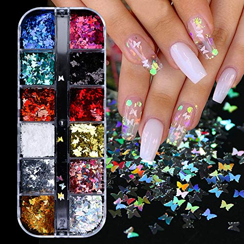 3D Butterfly Nail Glitter Sequins Splarkly Laser Butterfly Nail Sequin Acrylic Paillettes Holographic Nail Sparkle Glitter for Nail Art Decoration Confetti Glitter Sheets Tips Nails Supply 12 Colors