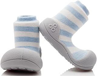 Attipas Herb Organic Baby Walker Shoes, Blue Border, XXX-Large