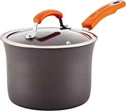 Rachael Ray 87610 Brights Hard Anodized Nonstick Sauce Pan/Saucepan with Lid, 3 Quart, Gray