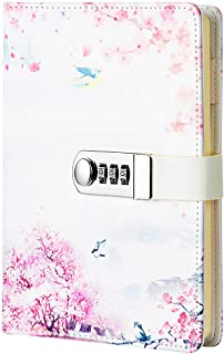 JunShop Creative Password Lock Journal Diary Digital Locking Diary Notepad Book Combination Journal Diary with lock A5 Planner Cover (Style 4)