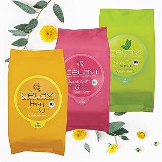 Celavi Makeup Removing Wipes 30 Count (3 Packs) (HONEY/POM/GREEN TEA)