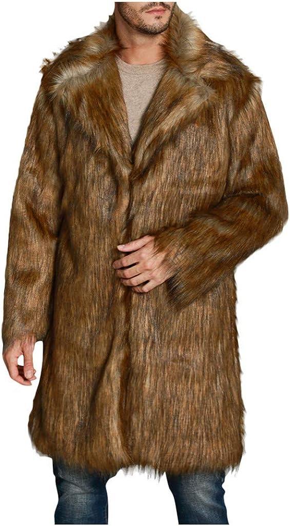 Stoota Faux Fur Cardigan for Men, Leopard Winter Warm Longline Luxury Outerwear Coat Jacket S- 4XL