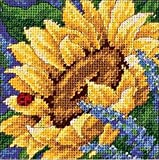 "Dimensions Needlepoint Kit, Sunflower and Ladybug Floral Needlepoint, 5"" x 5"""