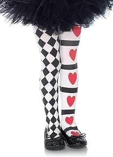 Leg Avenue's Children's Harlequin and Heart Tights, Black/White, Large