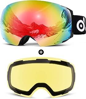Odoland Magnetic Interchangeable Ski Goggles with 2 Lens, Large Spherical Frameless Snow Goggles for Men & Women, OTG and UV400 Protection