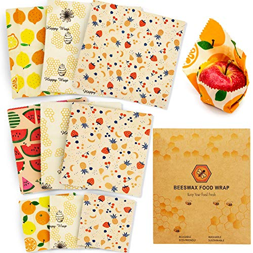 Beeswax Food Wraps Reusable Set – 9 Pcs Beeswax Wrap Sustainable Cover, Eco-Friendly Wax Wrap, Zero Waste Reusable Food Wraps, Plastic Free Bees Wrap Food Storage Bread Sandwich Wrapping (3S, 3M, 3L)