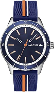 Lacoste Men's Stainless Steel Quartz Watch with Rubber Strap, Blue, 20 (Model: 2011007)