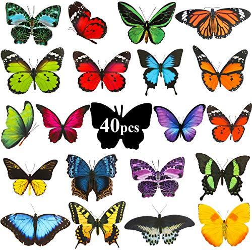 BFACCIA Fensteraufkleber Schmetterlinge 40 Pcs, doppelseitige und Selbstklebende Schmetterling Fensteraufkleber, Fenster Aufkleber zum Schutz vor Vogelkollisionen