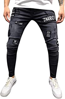 2019 Newest Mens Stretch Denim Pant Distressed Ripped Freyed Slim Fit Pocket Jeans Trousers
