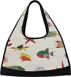 9c077a08a341 Gym Bag Sea Life Seahorse Fish Coral Turtle Squid Women Yoga Canvas Duffel  Bag Sports Tote