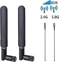 2 x 8dBi WiFi RP-SMA Male Antenna 2.4GHz 5.8GHz Dual Band +2 x 15CM U.FL/IPEX to RP-SMA..