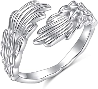 Sponsored Ad - Feather Angel Wings Adjustable Dainty Sterling Silver Open Thumb Ring for Women Men Mother's Day Gifts