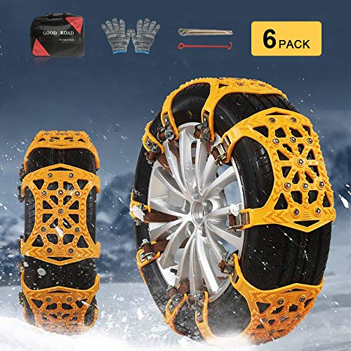 soyond Snow Chains Car Anti Slip Snow Tire Chains Adjustable Anti-Skid Chains Car Tire Snow Chains for Car/SUV/Trucks