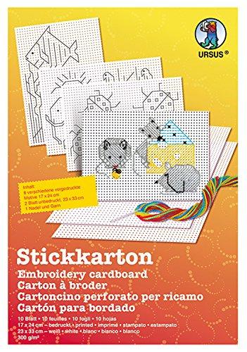 Ursus 15260000 - Stickkarton Bastelset, 8 Blatt bedruckt mit verschiedenen Motiven, 2 Blatt blanko mit Zubehör