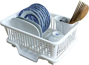 JRM's 3 in 1 Kitchen Sink Dish Drainer Drying Rack Washing Holder Plastic Basket Organizer with Tray and Utensil Cutlery Holder Cup (White)