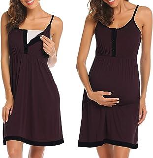 8ba769b0bd3 Ekouaer Women s Maternity Dress Nursing Nightgown Breastfeeding Full Slips  Sleepwear ...
