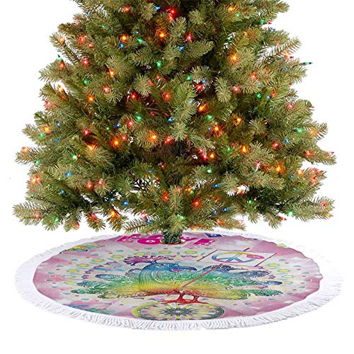 Christmas Tree Skirt Tropical Hippie Turkey Love Lettering Sunshine Hearts Beachy 60s Peace Vintage Xmas Holiday Party Decorations for Indoor Outdoor Xmas Party Holiday Decorations Multi 92 cm