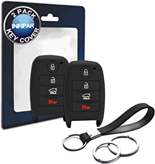 INFIPAR 2pcs Compatible with Kia SY5JFFGE04 Smart 4 Buttons Black Silicone FOB Key Case Cover Protector Keyless Remote Holder for 2018 2017 2016 2015 2014 2013 Kia Forte Optima Sorento Soul Sportage