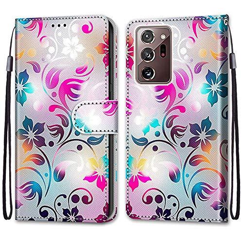 Nadoli Handyhülle Leder für Samsung Galaxy Note 20 Ultra,Bunt Bemalt Gradient Bunt Blumen Trageschlaufe Kartenfach Magnet Ständer Schutzhülle Brieftasche Ledertasche Tasche Etui
