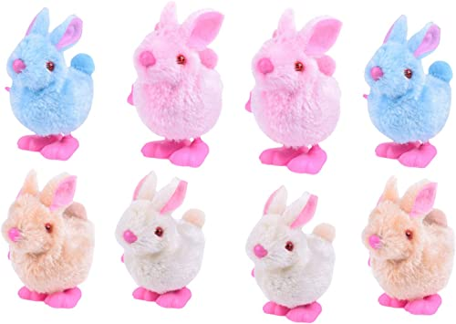 popular Pack online of 8 Stuffed Animal Plush Toy Bunny for Easter Wind Up Toy for Kids Bunny Party Favors Wind-Up Jumping Rabbit Novelty Toys sale Interactive Toy Gift for Kids Holiday Decorations online sale