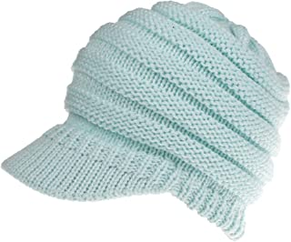 Wiwsi Women Men Knit Hat Knitted Cotton Slouchy Beanie Visor Design Cold Weather