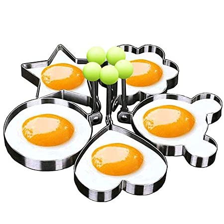 Egg Mold Ring Stainless Steel Egg Pancake Mold Ring Kitchen Utensil for Creative Breakfast 5 Piece Set - Round, Heart, Flower, Five-Pointed Star and Mickey Mouse Shaped Egg Mold Ring