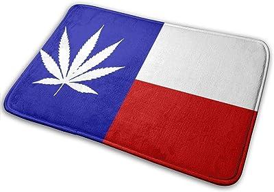 Texas Flag Marijuana Leaf Soft Comfort Flannel Indoor Mats Rugs,Non-Slip Multi-Use Doormat Super Absorbent Bathroom Mat Toilet,Kitchen Floor Mats Washable Home Decor Carpets