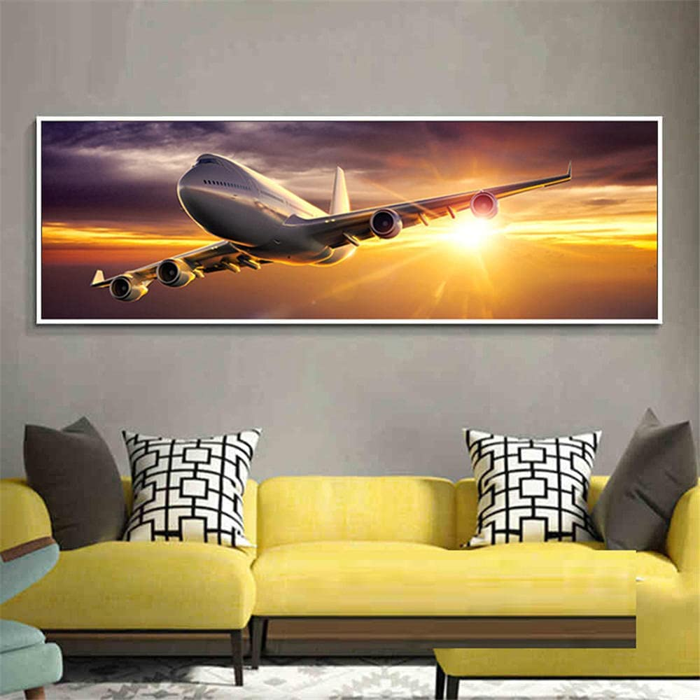 DIY 5D Diamond Branded goods Painting by Number Rapid rise Drill Aircraft Kits Diamo Full