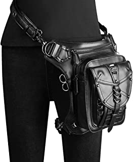 Black Cool Men and Women PU Steam Punk Bag Gothic Messenger Bag Rock Pockets Motorcycle Locomotive Vertical Square Flip Bag Shoulder Shoulder Bag Made Fine Dynamic