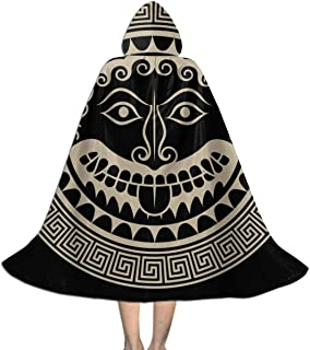 Ywan781jie Ancient Greece Shield with Gorgon Medusa Head Halloween Costumes Witch Wizard Cloak with Hat Kids Wizard Cape Child's Costume Party Cosplay Cape Role Play Dress Up for Kids Boys Girls