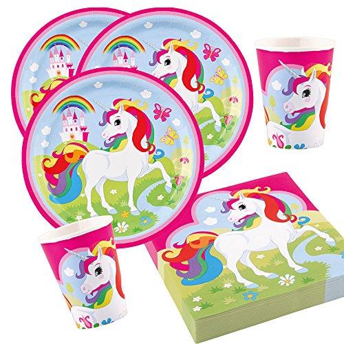 36-teiliges Party-Set Einhorn (Amscan) - Unicorn - Teller Becher Servietten für 8 Kinder