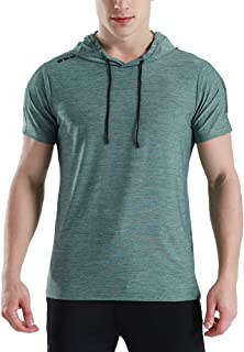 Mens Short Sleeve Lightweight Hoodie Active Sportwear Workout Gym Training Hooded T-Shirt