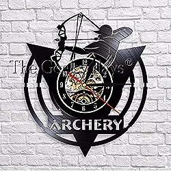 Arrows in The Hands of Warriors Archery Bow Archery Wall Clock Modern Design Archery Vinyl Clock 3D Wall Watches Decor