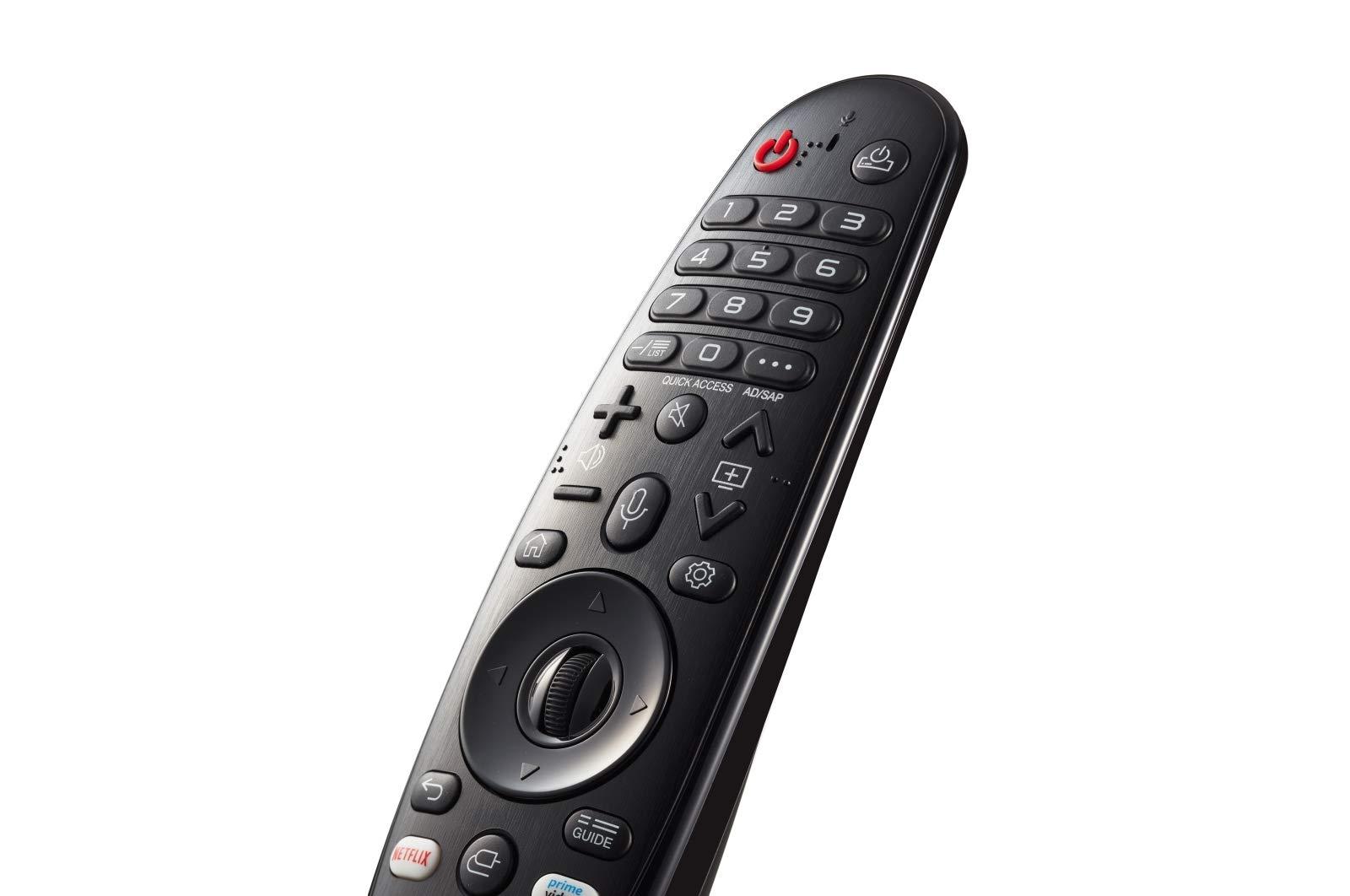 LG Magic Control AN-MR19BA - Mando a distancia (añade Amazon Alexa a tu tele LG, Reconocimiento de voz, apunta y navega, rueda de scroll, botones Netflix y Amazon, teclado numérico) color Negro: