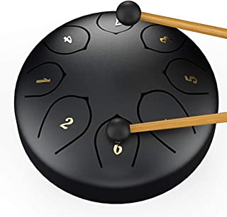 Steel Tongue Drum Tank Drum Standard C Key 8 Notes 6 Inch Percussion Instrument with Drum Mallets Carry Bag, Black…