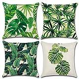 MIULEE Juego de 4 Lino Cojines Serie de Hojas Funda de Cojín Almohada Caso de Decorativo Cojines para Sala de Estar sofá Cama18 x18 Pulgadas 45x45cm