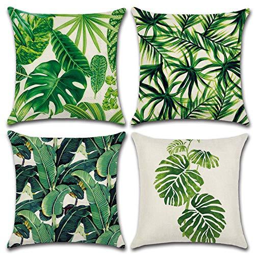 MIULEE Set di 4 Cuscino Stampato Lino Stile Tropicale Foglie Federe Decorativo Quadrato Federe Cuscino Set Custodia per Divano Letto18 X18 45 X 45Cm