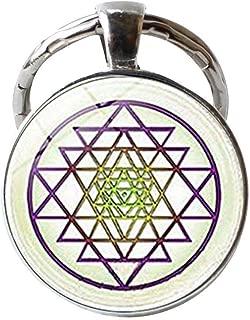 Buddhist Sri Yantra Keychain,Vintage Sacred Geometry Jewelry,Art Picture Jewelry