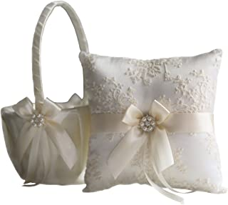 Alex Emotions | Lace Guipure Collection | Ivory Bearer Pillow & Wedding Basket Set (Ivory)