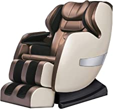 Massage Chair Recliner, S-Track Zero Gravity Full Body Shiatsu Luxurious Leather Foot Rollers Airbags Massage A600 (Coffee)