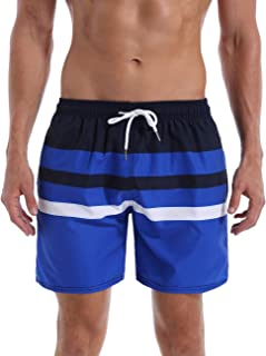 QRNASS Men's Shorts Swim Trunks Quick Dry Striped Swimming Shorts Elastic Waistband Bathing Suits with Mesh Lined