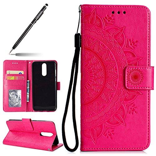 Uposao Kompatibel mit Huawei Mate 10 Lite Tasche Leder Flip Case Dünn Ledertasche Flip Hülle Handytasche Schutzhülle Book Cover Handyhülle Klapphülle Kartenfach Magnetverschluss,Rot
