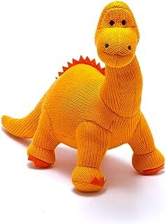 best years original by design Orange Knitted Diplodocus Dinosaur Soft Toy. Suitable from Birth